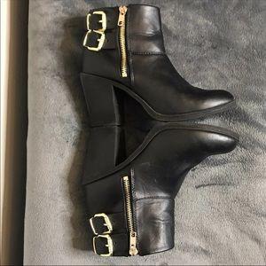 Black Gold Buckle Zipper Booties
